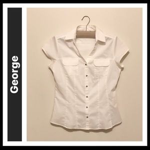 George Cap-sleeve Button Down Fitted Blouse